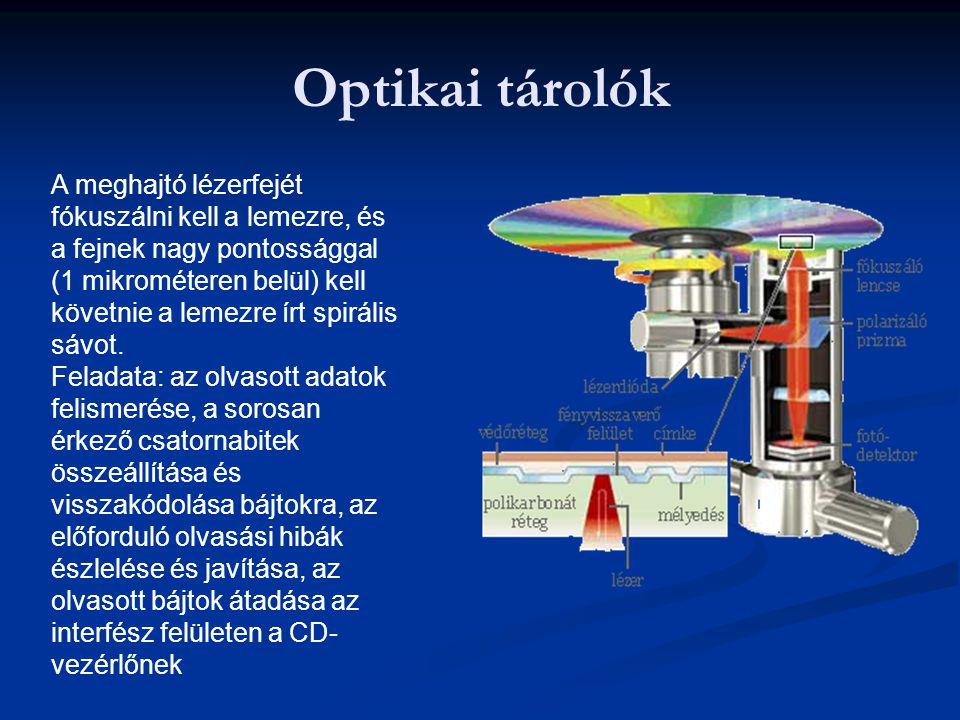 Optikai tárolók A meghajtó lézerfejét fókuszálni kell a lemezre, és a fejnek nagy pontossággal (1 mikrométeren belül) kell követnie a lemezre írt spir