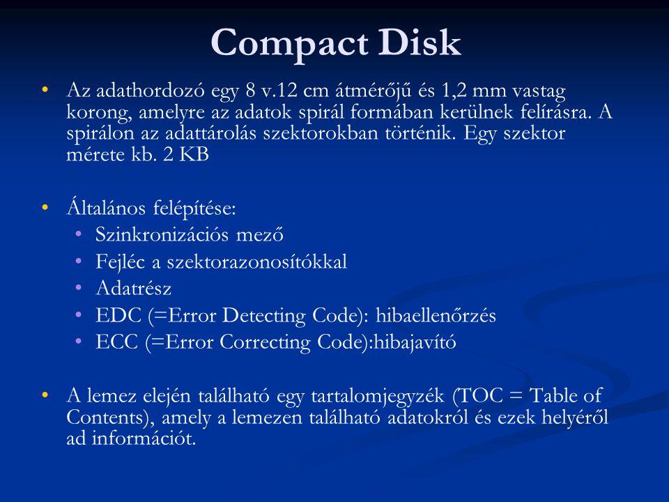 Compact Disk Az adathordozó egy 8 v.12 cm átmérőjű és 1,2 mm vastag korong, amelyre az adatok spirál formában kerülnek felírásra. A spirálon az adattá