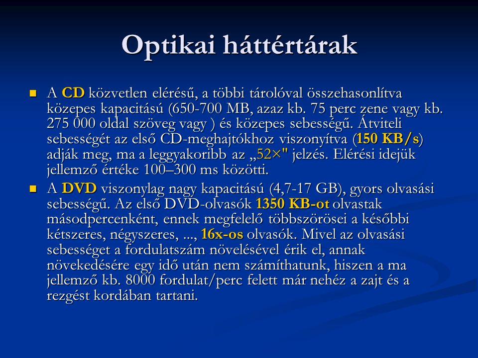 Optikai háttértárak A CD közvetlen elérésű, a többi tárolóval összehasonlítva közepes kapacitású (650-700 MB, azaz kb. 75 perc zene vagy kb. 275 000 o