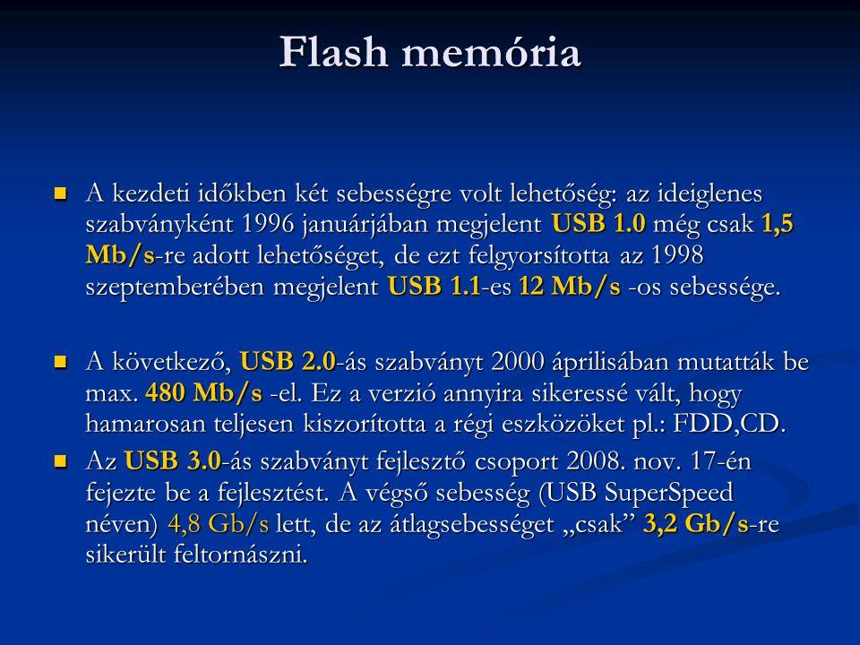 Flash memória A kezdeti időkben két sebességre volt lehetőség: az ideiglenes szabványként 1996 januárjában megjelent USB 1.0 még csak 1,5 Mb/s-re adot