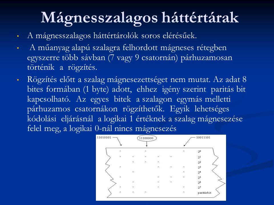 Mágnesszalagos háttértárak A mágnesszalagos háttértárolók soros elérésűek. A műanyag alapú szalagra felhordott mágneses rétegben egyszerre több sávban