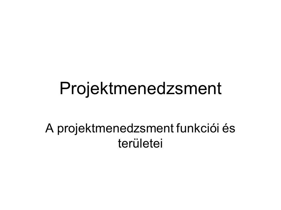 Projektmenedzsment A projektmenedzsment funkciói és területei