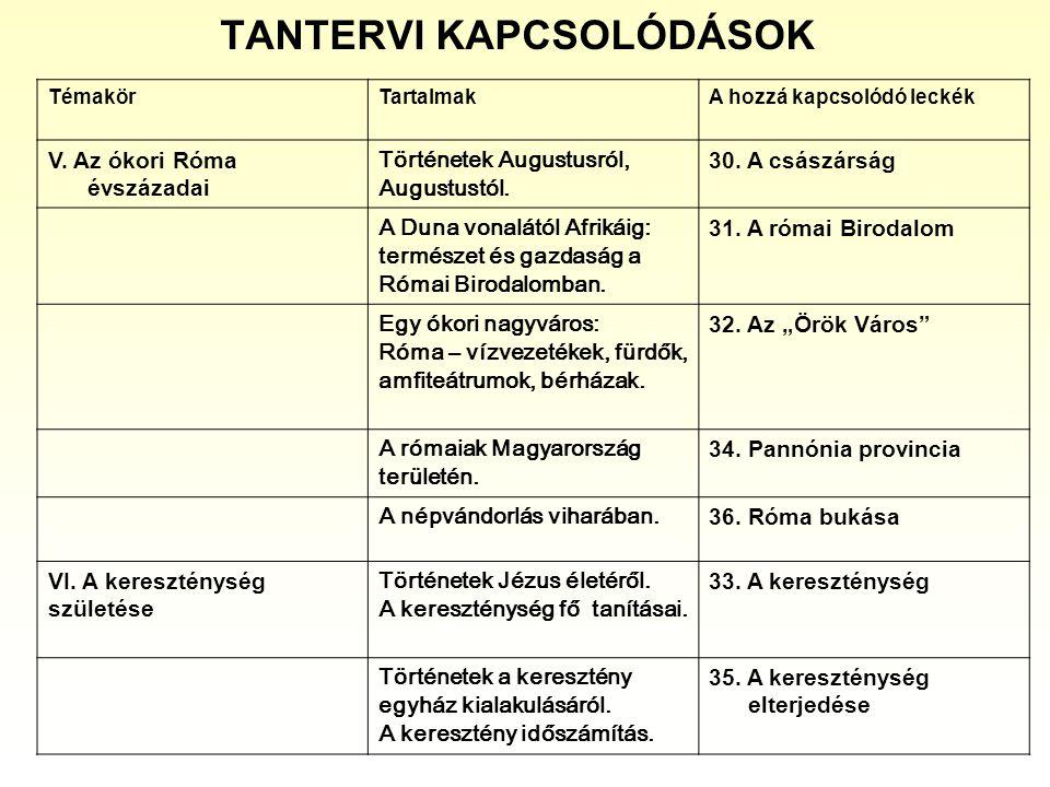 TANTERVI KAPCSOLÓDÁSOK TémakörTartalmakA hozzá kapcsolódó leckék V. Az ókori Róma évszázadai Történetek Augustusról, Augustustól. 30. A császárság A D