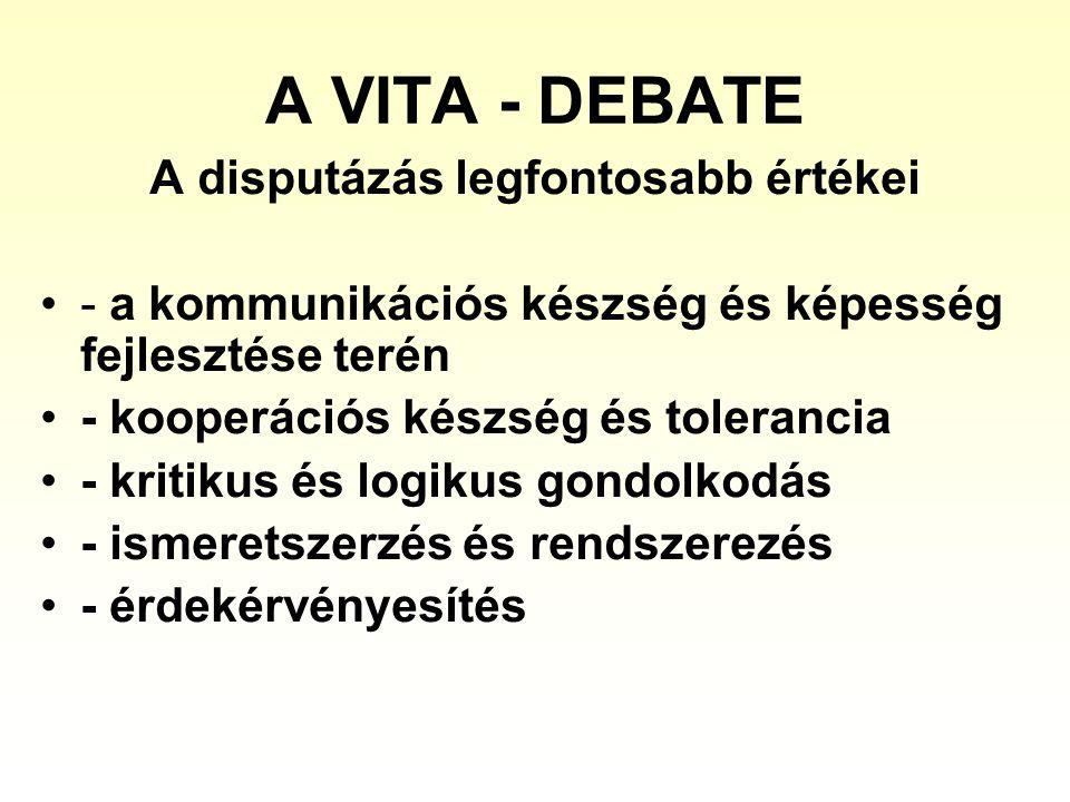 A VITA - DEBATE A disputázás legfontosabb értékei - a kommunikációs készség és képesség fejlesztése terén - kooperációs készség és tolerancia - kritikus és logikus gondolkodás - ismeretszerzés és rendszerezés - érdekérvényesítés