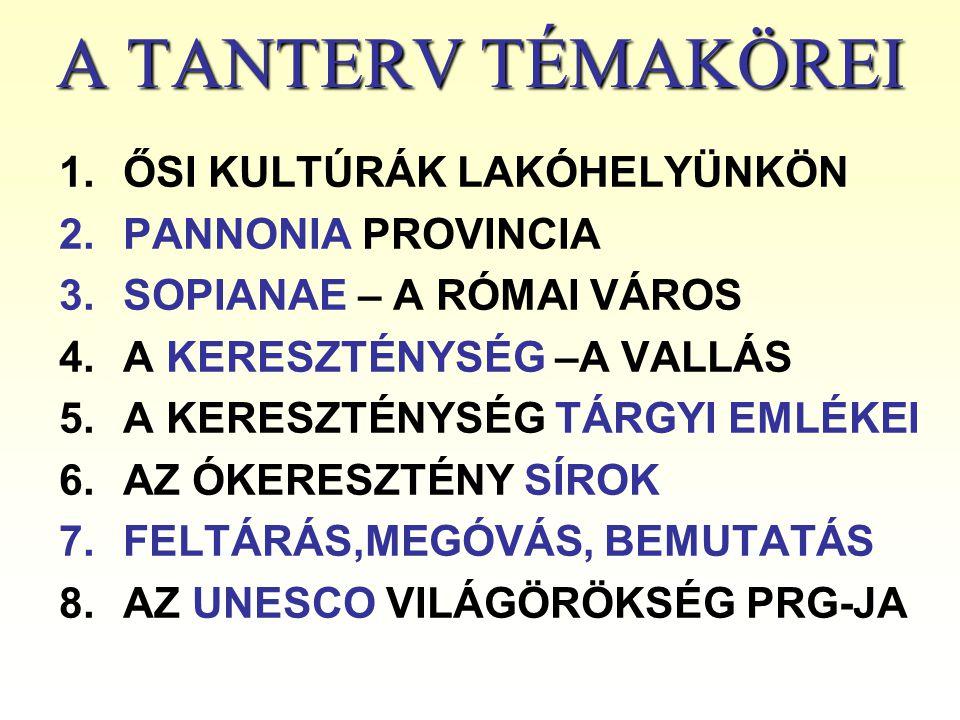 A TANTERV TÉMAKÖREI 1.ŐSI KULTÚRÁK LAKÓHELYÜNKÖN 2.PANNONIA PROVINCIA 3.SOPIANAE – A RÓMAI VÁROS 4.A KERESZTÉNYSÉG –A VALLÁS 5.A KERESZTÉNYSÉG TÁRGYI
