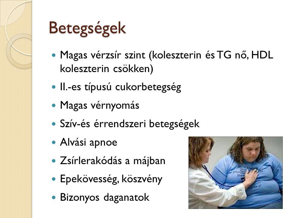 Betegségek Magas vérzsír szint (koleszterin és TG nő, HDL koleszterin csökken) II.-es típusú cukorbetegség Magas vérnyomás Szív-és érrendszeri betegsé
