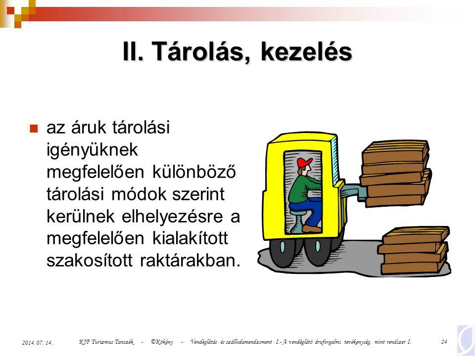 KJF Turizmus Tanszék - ©Kökény - Vendéglátás és szállodamendzsment I.- A vendéglátó áruforgalmi tevékenység, mint rendszer I.24 2014. 07. 14. II. Táro