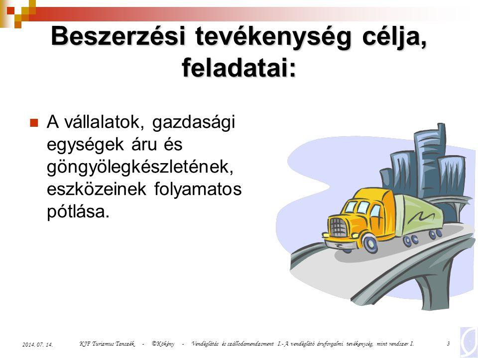 KJF Turizmus Tanszék - ©Kökény - Vendéglátás és szállodamendzsment I.- A vendéglátó áruforgalmi tevékenység, mint rendszer I.3 2014. 07. 14. Beszerzés