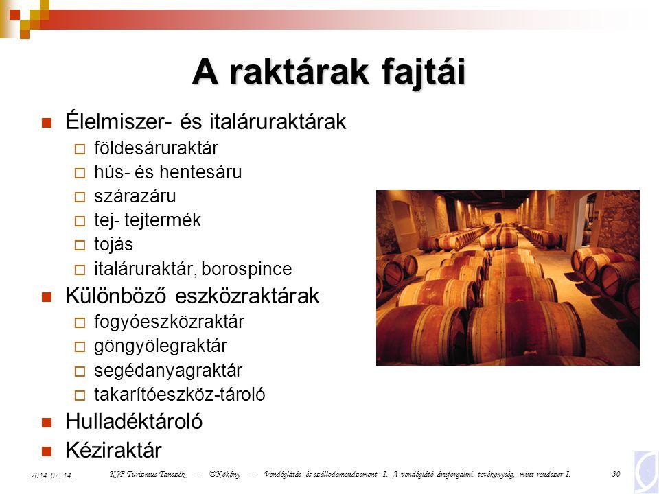 KJF Turizmus Tanszék - ©Kökény - Vendéglátás és szállodamendzsment I.- A vendéglátó áruforgalmi tevékenység, mint rendszer I.30 2014. 07. 14. A raktár