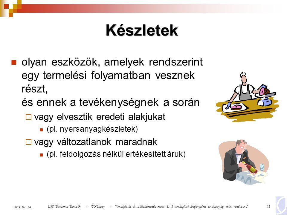 KJF Turizmus Tanszék - ©Kökény - Vendéglátás és szállodamendzsment I.- A vendéglátó áruforgalmi tevékenység, mint rendszer I.31 2014. 07. 14. Készlete