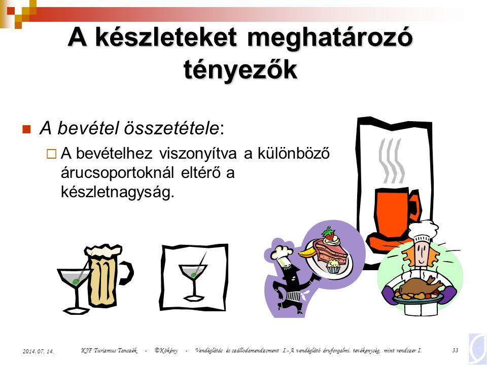KJF Turizmus Tanszék - ©Kökény - Vendéglátás és szállodamendzsment I.- A vendéglátó áruforgalmi tevékenység, mint rendszer I.33 2014. 07. 14. A készle