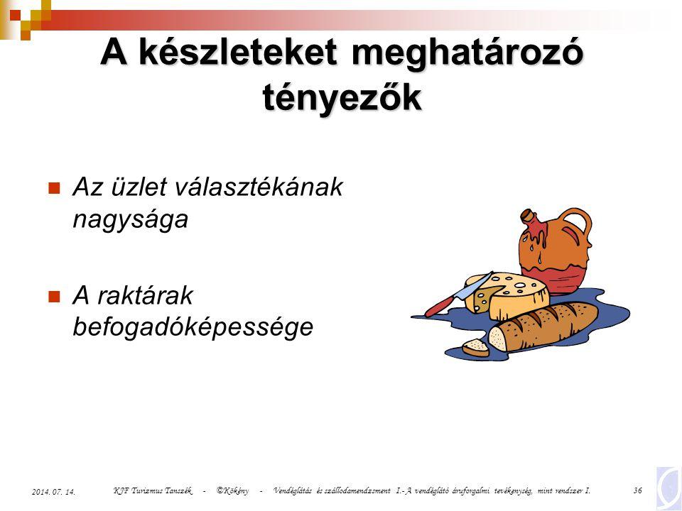 KJF Turizmus Tanszék - ©Kökény - Vendéglátás és szállodamendzsment I.- A vendéglátó áruforgalmi tevékenység, mint rendszer I.36 2014. 07. 14. Az üzlet