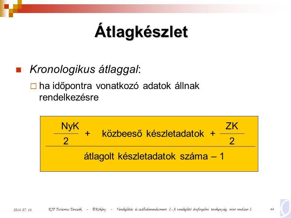 KJF Turizmus Tanszék - ©Kökény - Vendéglátás és szállodamendzsment I.- A vendéglátó áruforgalmi tevékenység, mint rendszer I.44 2014. 07. 14. Átlagkés
