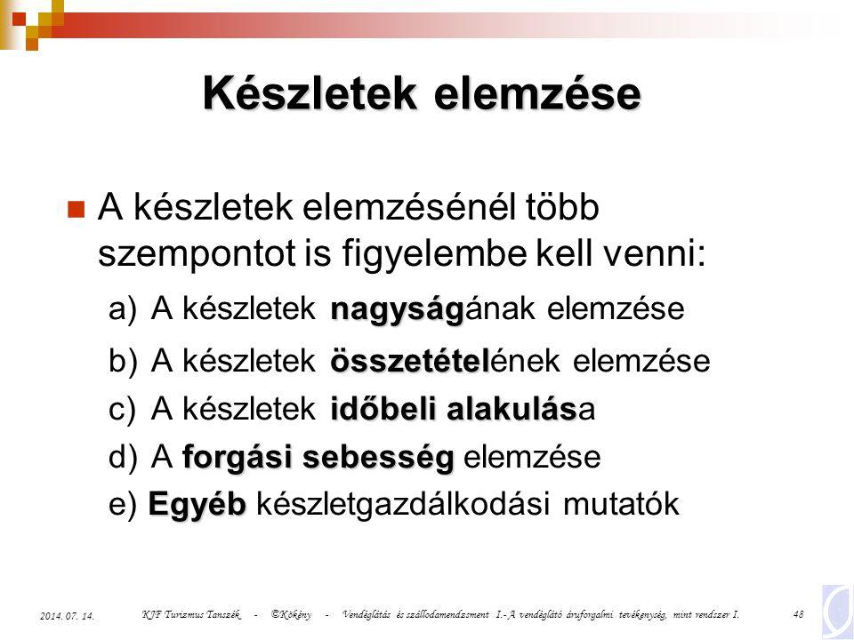 KJF Turizmus Tanszék - ©Kökény - Vendéglátás és szállodamendzsment I.- A vendéglátó áruforgalmi tevékenység, mint rendszer I.48 2014. 07. 14. Készlete