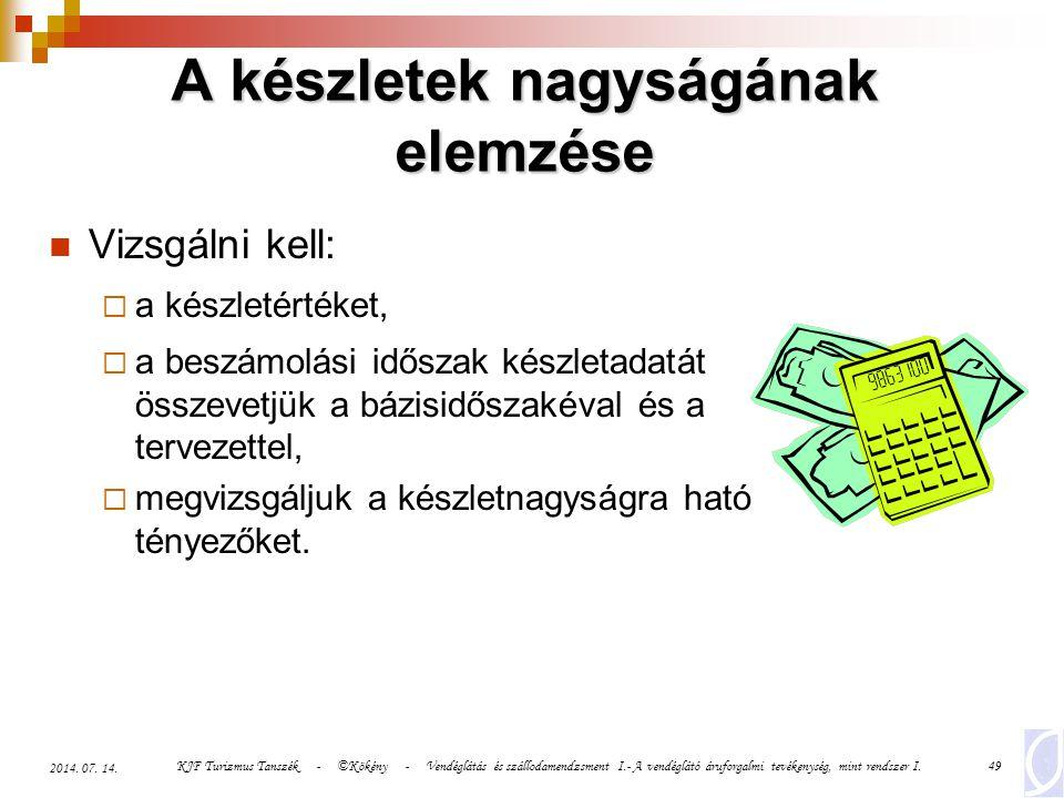 KJF Turizmus Tanszék - ©Kökény - Vendéglátás és szállodamendzsment I.- A vendéglátó áruforgalmi tevékenység, mint rendszer I.49 2014. 07. 14. A készle