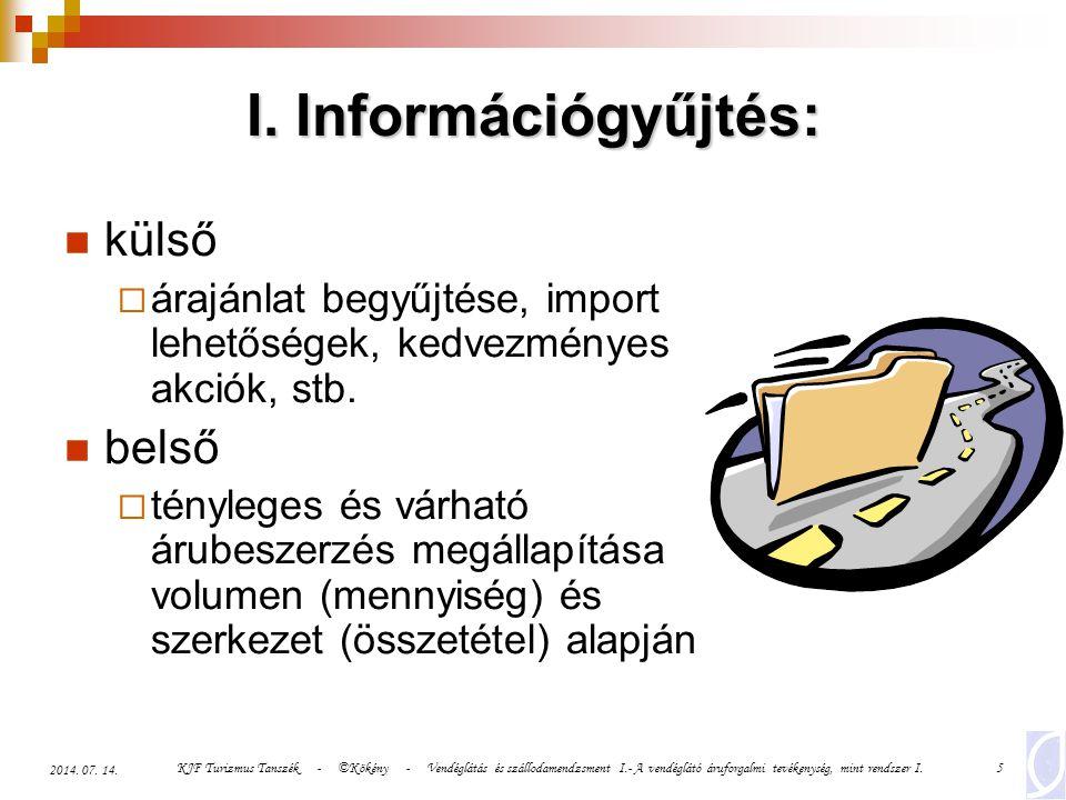 KJF Turizmus Tanszék - ©Kökény - Vendéglátás és szállodamendzsment I.- A vendéglátó áruforgalmi tevékenység, mint rendszer I.5 2014. 07. 14. I. Inform