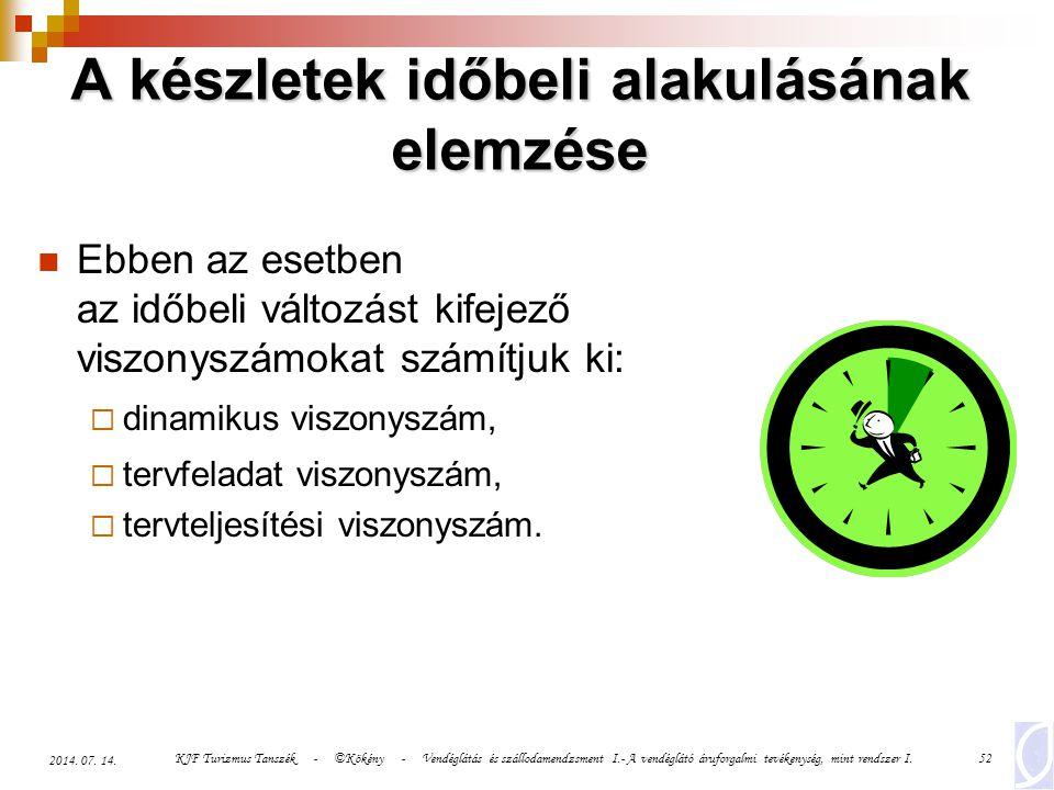 KJF Turizmus Tanszék - ©Kökény - Vendéglátás és szállodamendzsment I.- A vendéglátó áruforgalmi tevékenység, mint rendszer I.52 2014. 07. 14. A készle