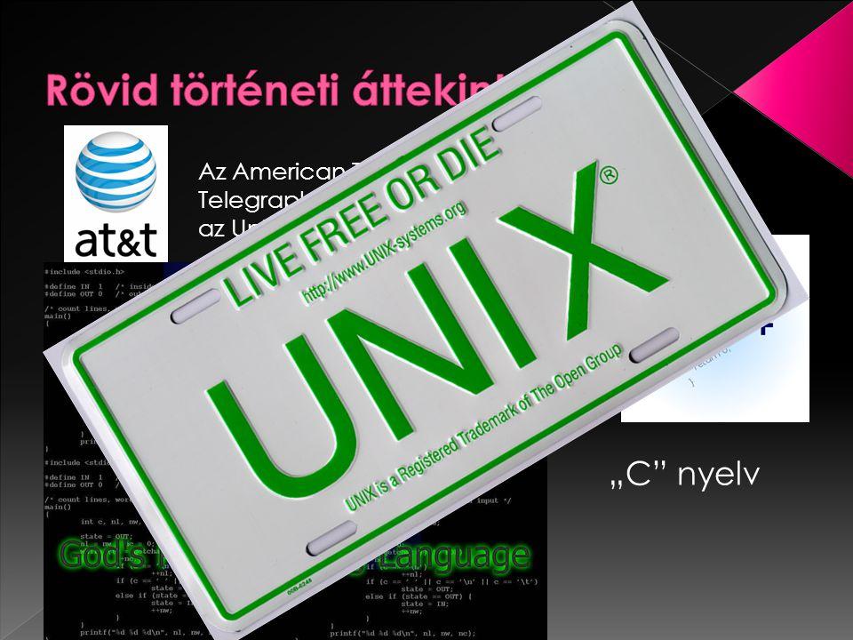 """Az American Telephone & Telegraph (AT&T) kifejlesztette az Unix operációs rendszert """"C nyelv"""