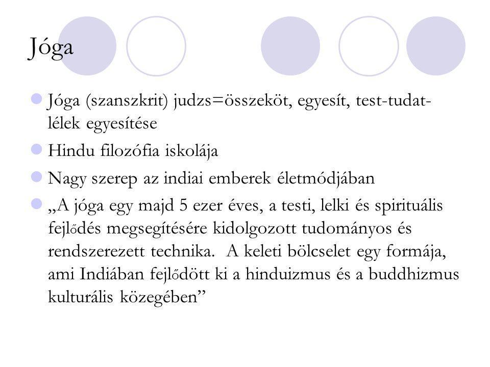 """Jóga Jóga (szanszkrit) judzs=összeköt, egyesít, test-tudat- lélek egyesítése Hindu filozófia iskolája Nagy szerep az indiai emberek életmódjában """"A jó"""