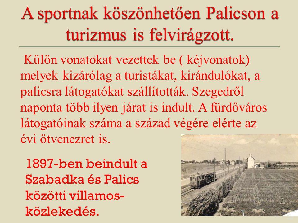 35 Külön vonatokat vezettek be ( kéjvonatok) melyek kizárólag a turistákat, kirándulókat, a palicsra látogatókat szállították. Szegedről naponta több