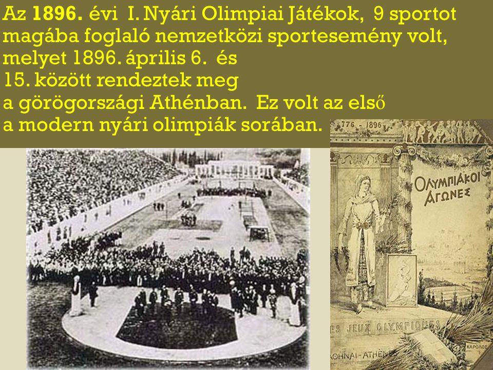 Az 1896. évi I. Nyári Olimpiai Játékok, 9 sportot magába foglaló nemzetközi sportesemény volt, melyet 1896. április 6. és 15. között rendeztek meg a g