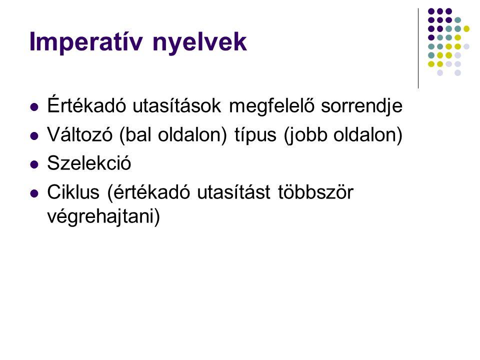 Imperatív nyelvek Értékadó utasítások megfelelő sorrendje Változó (bal oldalon) típus (jobb oldalon) Szelekció Ciklus (értékadó utasítást többször végrehajtani)