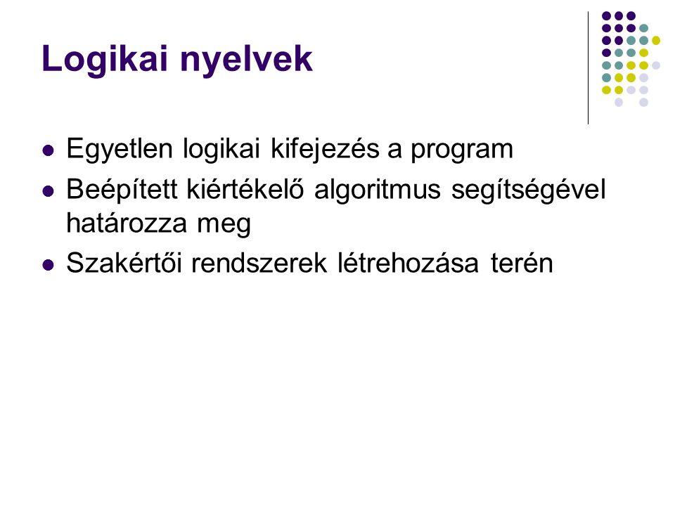 Logikai nyelvek Egyetlen logikai kifejezés a program Beépített kiértékelő algoritmus segítségével határozza meg Szakértői rendszerek létrehozása terén