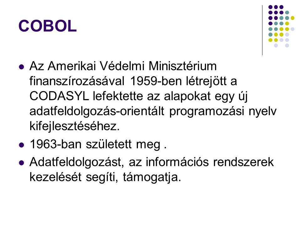 COBOL Az Amerikai Védelmi Minisztérium finanszírozásával 1959-ben létrejött a CODASYL lefektette az alapokat egy új adatfeldolgozás-orientált programo