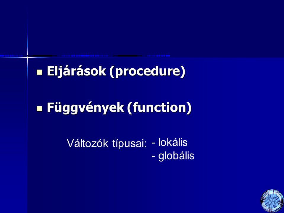 Eljárások (procedure) Eljárások (procedure) Függvények (function) Függvények (function) Változók típusai: - lokális - globális