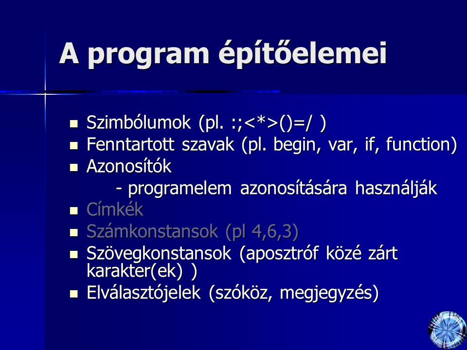 A program építőelemei Szimbólumok (pl. :; ()=/ ) Szimbólumok (pl. :; ()=/ ) Fenntartott szavak (pl. begin, var, if, function) Fenntartott szavak (pl.
