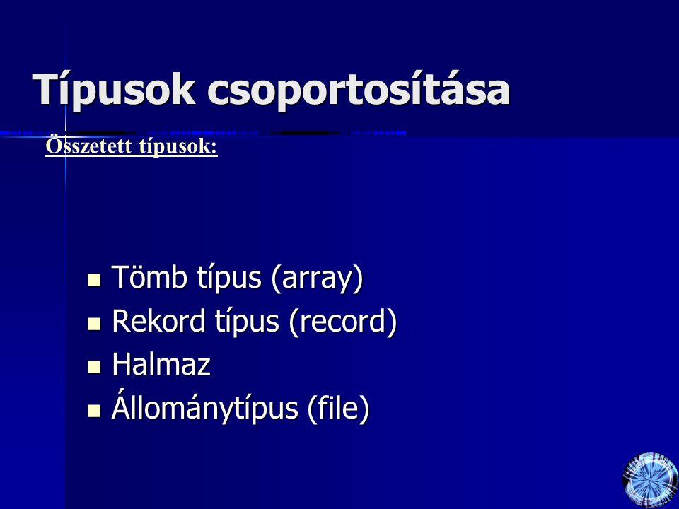 Típusok csoportosítása Tömb típus (array) Tömb típus (array) Rekord típus (record) Rekord típus (record) Halmaz Halmaz Állománytípus (file) Állománytípus (file) Összetett típusok: