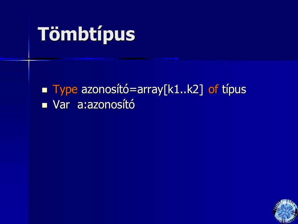 Tömbtípus Type azonosító=array[k1..k2] of típus Type azonosító=array[k1..k2] of típus Var a:azonosító Var a:azonosító