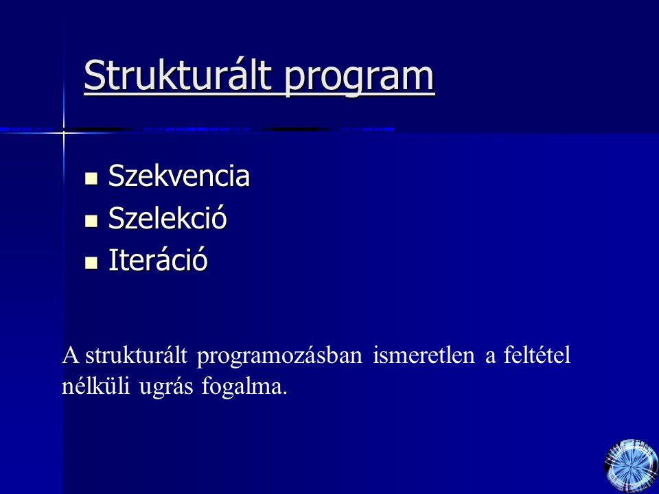 Strukturált program Szekvencia Szekvencia Szelekció Szelekció Iteráció Iteráció A strukturált programozásban ismeretlen a feltétel nélküli ugrás fogalma.