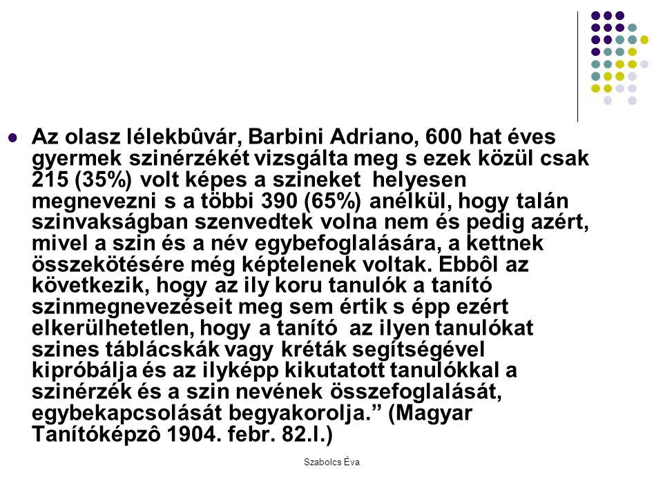 Szabolcs Éva Az olasz lélekbûvár, Barbini Adriano, 600 hat éves gyermek szinérzékét vizsgálta meg s ezek közül csak 215 (35%) volt képes a szineket he