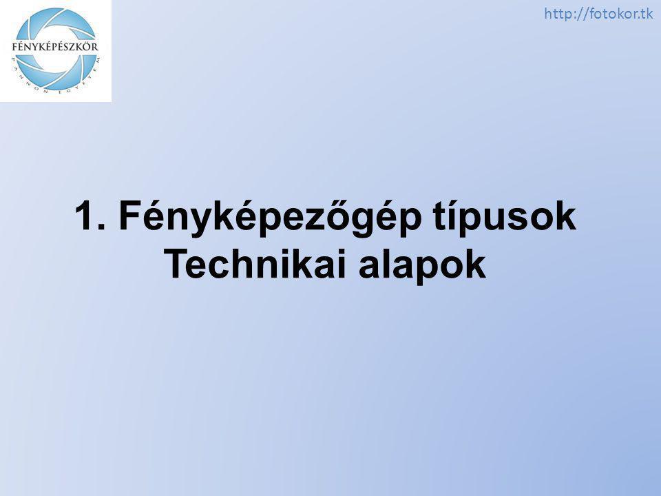 http://fotokor.tk 1. Fényképezőgép típusok Technikai alapok