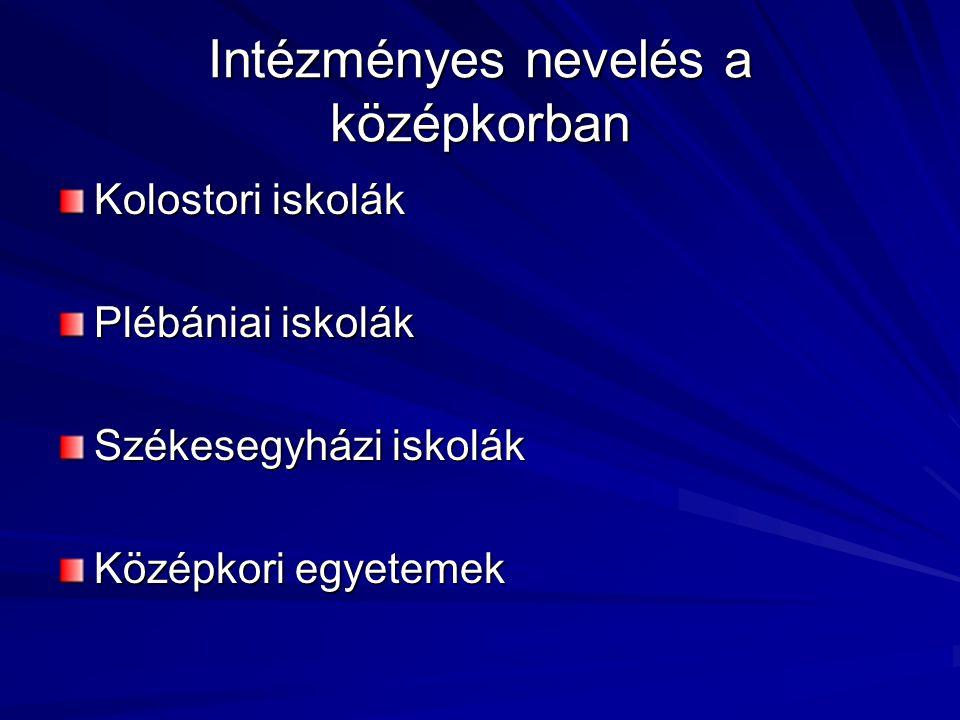 Intézményes nevelés a középkorban Kolostori iskolák Plébániai iskolák Székesegyházi iskolák Középkori egyetemek