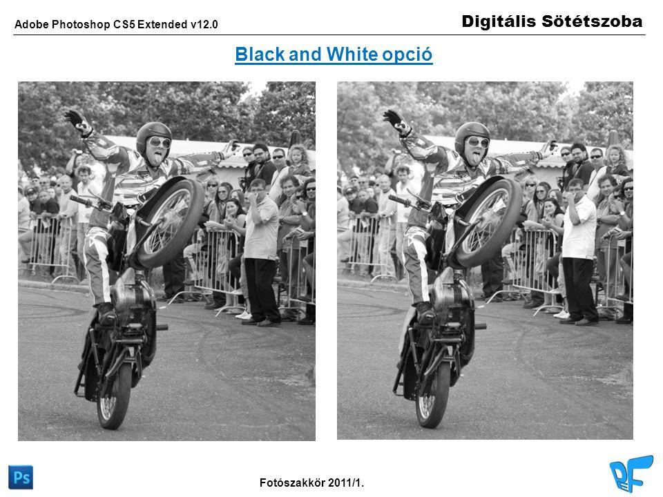 Digitális Sötétszoba Adobe Photoshop CS5 Extended v12.0 Fotószakkör 2011/1. Black and White opció