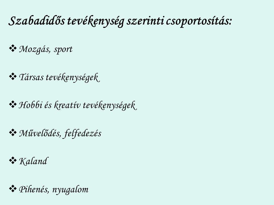 Szabadidős tevékenység szerinti csoportosítás:  Mozgás, sport  Társas tevékenységek  Hobbi és kreatív tevékenységek  Művelődés, felfedezés  Kalan