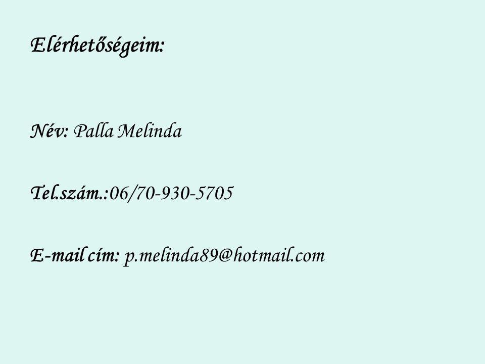 Elérhetőségeim: Név: Palla Melinda Tel.szám.:06/70-930-5705 E-mail cím: p.melinda89@hotmail.com