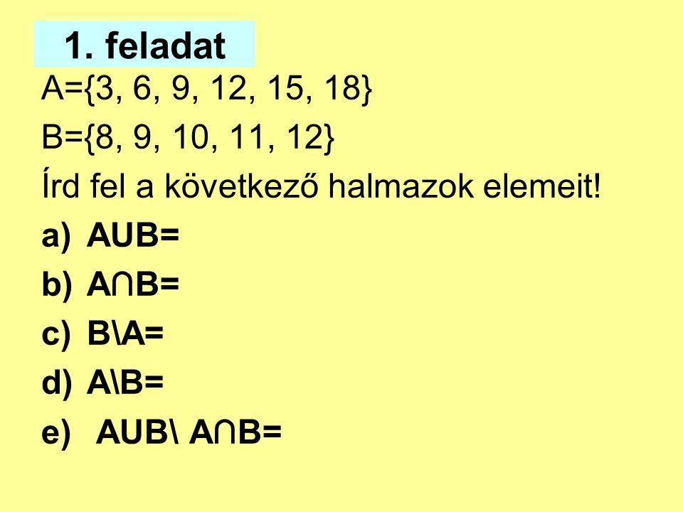 1. feladat A={3, 6, 9, 12, 15, 18} B={8, 9, 10, 11, 12} Írd fel a következő halmazok elemeit! a)AUB= b)A∩B= c)B\A= d)A\B= e) AUB\ A∩B=