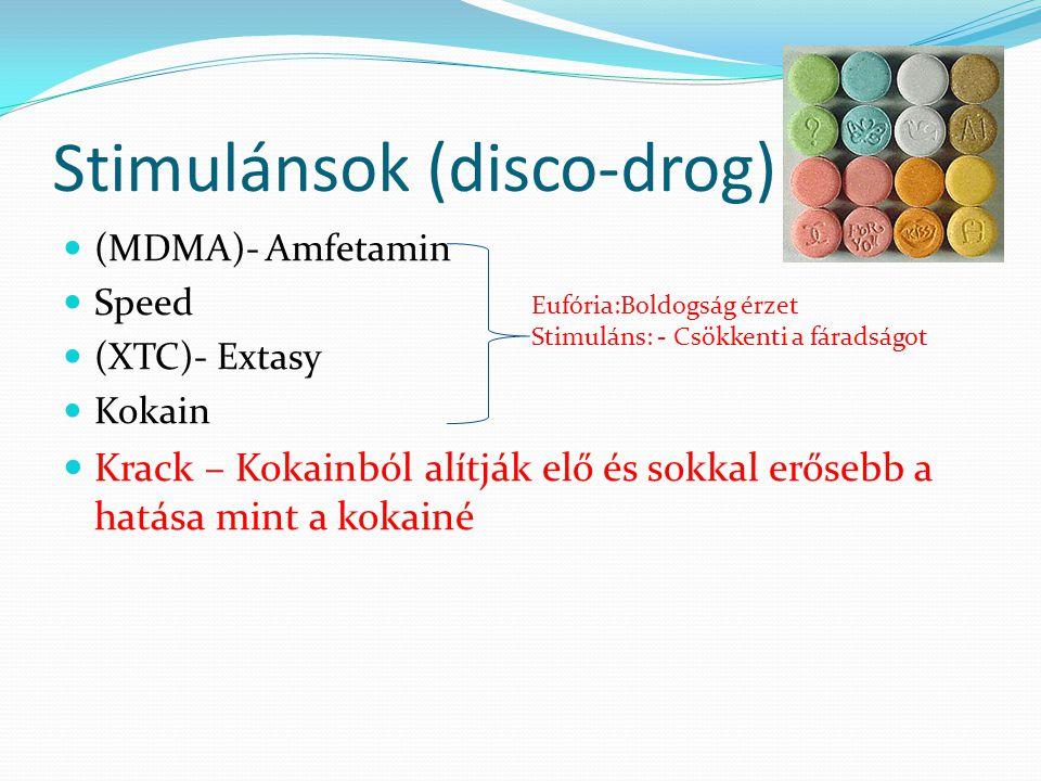 Stimulánsok (disco-drog) (MDMA)- Amfetamin Speed (XTC)- Extasy Kokain Krack – Kokainból alítják elő és sokkal erősebb a hatása mint a kokainé Eufória:Boldogság érzet Stimuláns: - Csökkenti a fáradságot