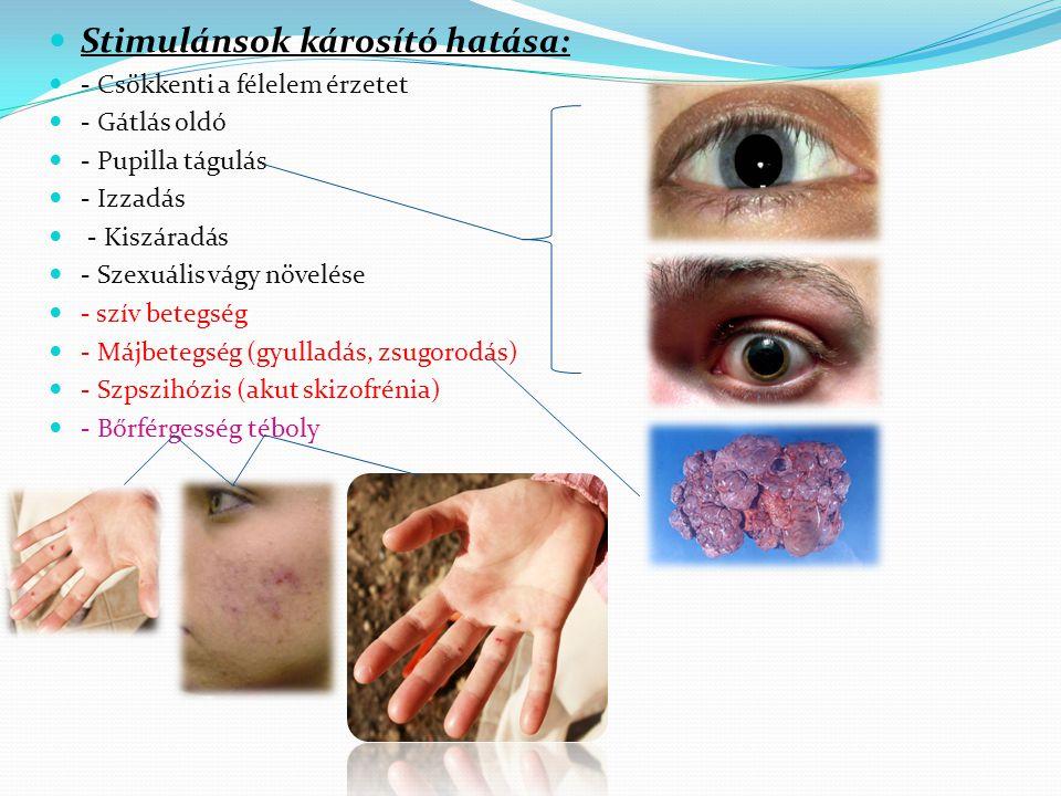 Stimulánsok károsító hatása: - Csökkenti a félelem érzetet - Gátlás oldó - Pupilla tágulás - Izzadás - Kiszáradás - Szexuális vágy növelése - szív betegség - Májbetegség (gyulladás, zsugorodás) - Szpszihózis (akut skizofrénia) - Bőrférgesség téboly