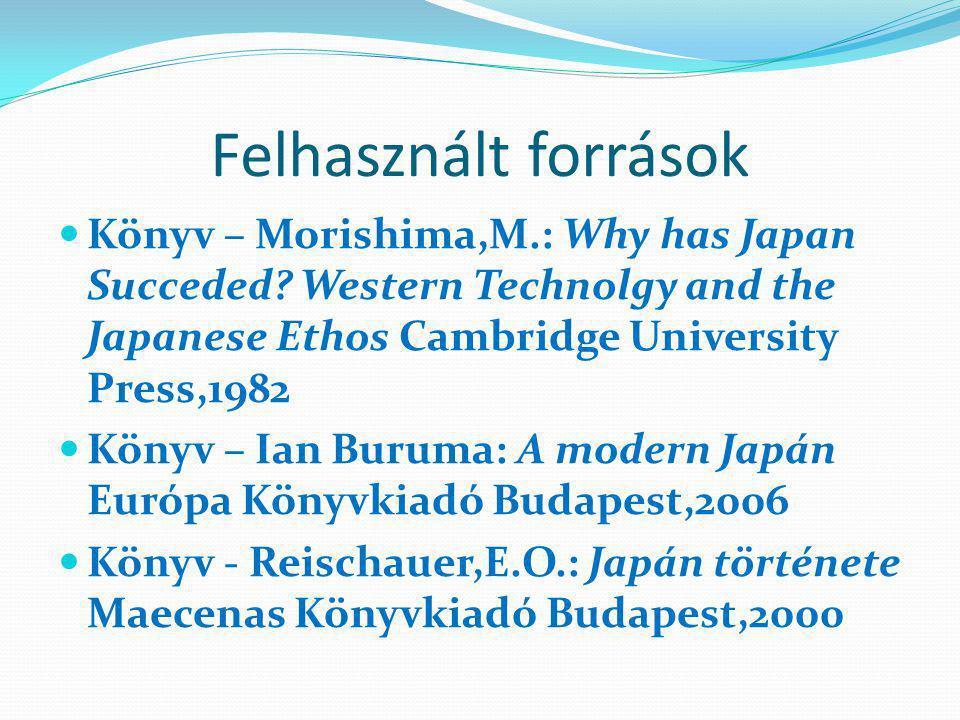 Felhasznált források Könyv – Morishima,M.: Why has Japan Succeded.