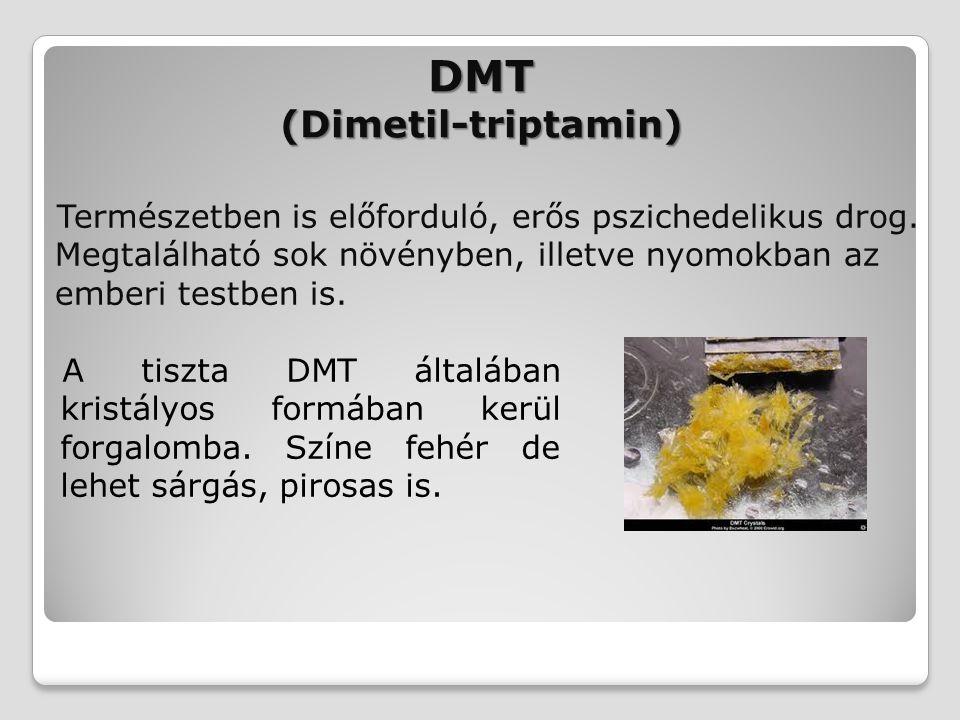 DMT (Dimetil-triptamin) Természetben is előforduló, erős pszichedelikus drog. Megtalálható sok növényben, illetve nyomokban az emberi testben is. A ti