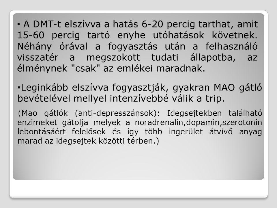 A DMT-t elszívva a hatás 6-20 percig tarthat, amit 15-60 percig tartó enyhe utóhatások követnek. Néhány órával a fogyasztás után a felhasználó visszat