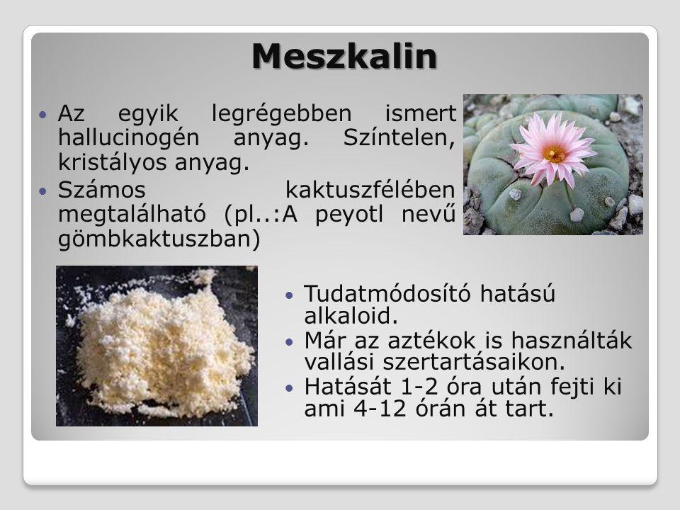 Meszkalin Tudatmódosító hatású alkaloid. Már az aztékok is használták vallási szertartásaikon. Hatását 1-2 óra után fejti ki ami 4-12 órán át tart. Az