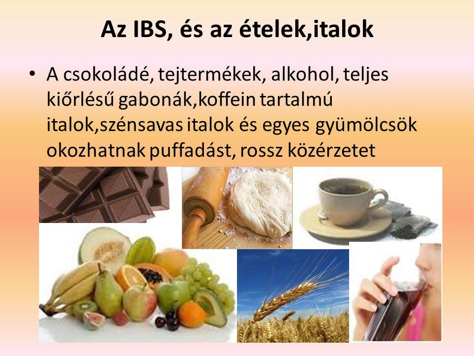 Az IBS, és az ételek,italok A csokoládé, tejtermékek, alkohol, teljes kiőrlésű gabonák,koffein tartalmú italok,szénsavas italok és egyes gyümölcsök okozhatnak puffadást, rossz közérzetet