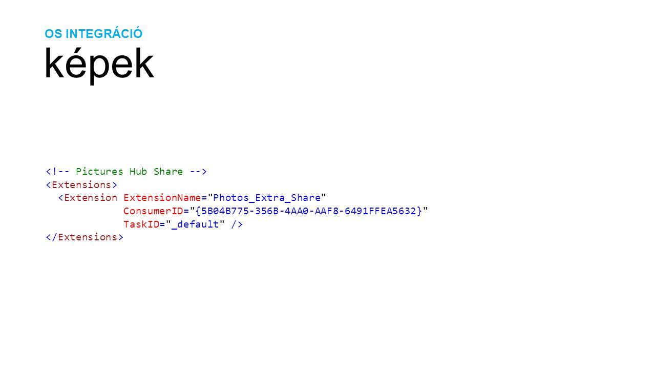 OS INTEGRÁCIÓ képek protected override void OnNavigatedTo(NavigationEventArgs e) { string token; NavigationContext.QueryString.TryGetValue( FileId , out token); if (token != null) { // Kép betöltése MediaLibrary library = new MediaLibrary(); Picture picture = library.GetPictureFromToken(token); // Silverlight-os Bitmap-pá alakítás BitmapImage bitmap = new BitmapImage(); bitmap.CreateOptions = BitmapCreateOptions.None; bitmap.SetSource(picture.GetImage()); // Silverlight-os WriteableBitmap-pá alakítás WriteableBitmap picLibraryImage = new WriteableBitmap(bitmap); }