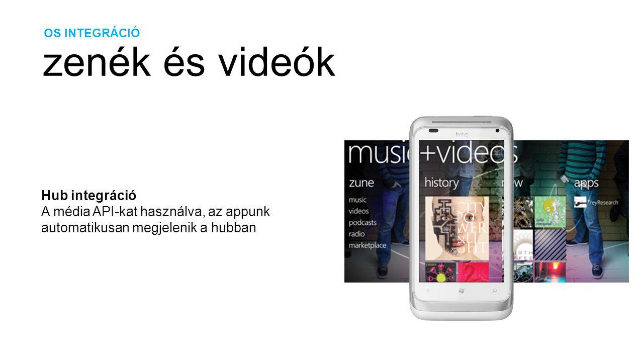 OS INTEGRÁCIÓ zenék és videók Hub integráció A média API-kat használva, az appunk automatikusan megjelenik a hubban