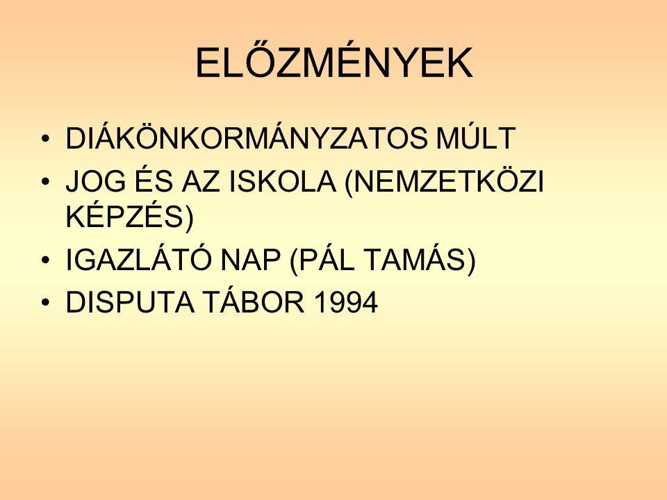 ELŐZMÉNYEK DIÁKÖNKORMÁNYZATOS MÚLT JOG ÉS AZ ISKOLA (NEMZETKÖZI KÉPZÉS) IGAZLÁTÓ NAP (PÁL TAMÁS) DISPUTA TÁBOR 1994